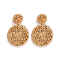 Weave Straw Double Disc Drop Earrings Boho Rattan Dangle Statement Earrings