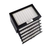 60 Piece Black Ebony Wood Personalized Pen Display Case Storage and Fountain Pen Collector Organizer Box with Glass Window 6 Level Display Case with Drawers