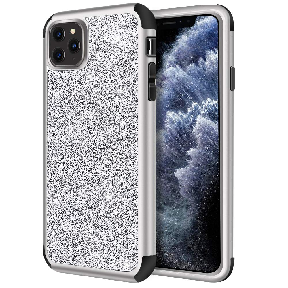 Hython Case for iPhone 11 Pro Max, Heavy Duty Full-Body Defender Protective Case Bling Glitter Sparkle Hard Shell Armor Hybrid Shockproof Rubber Bumper Cover for iPhone 11 Pro Max 2019, Silver