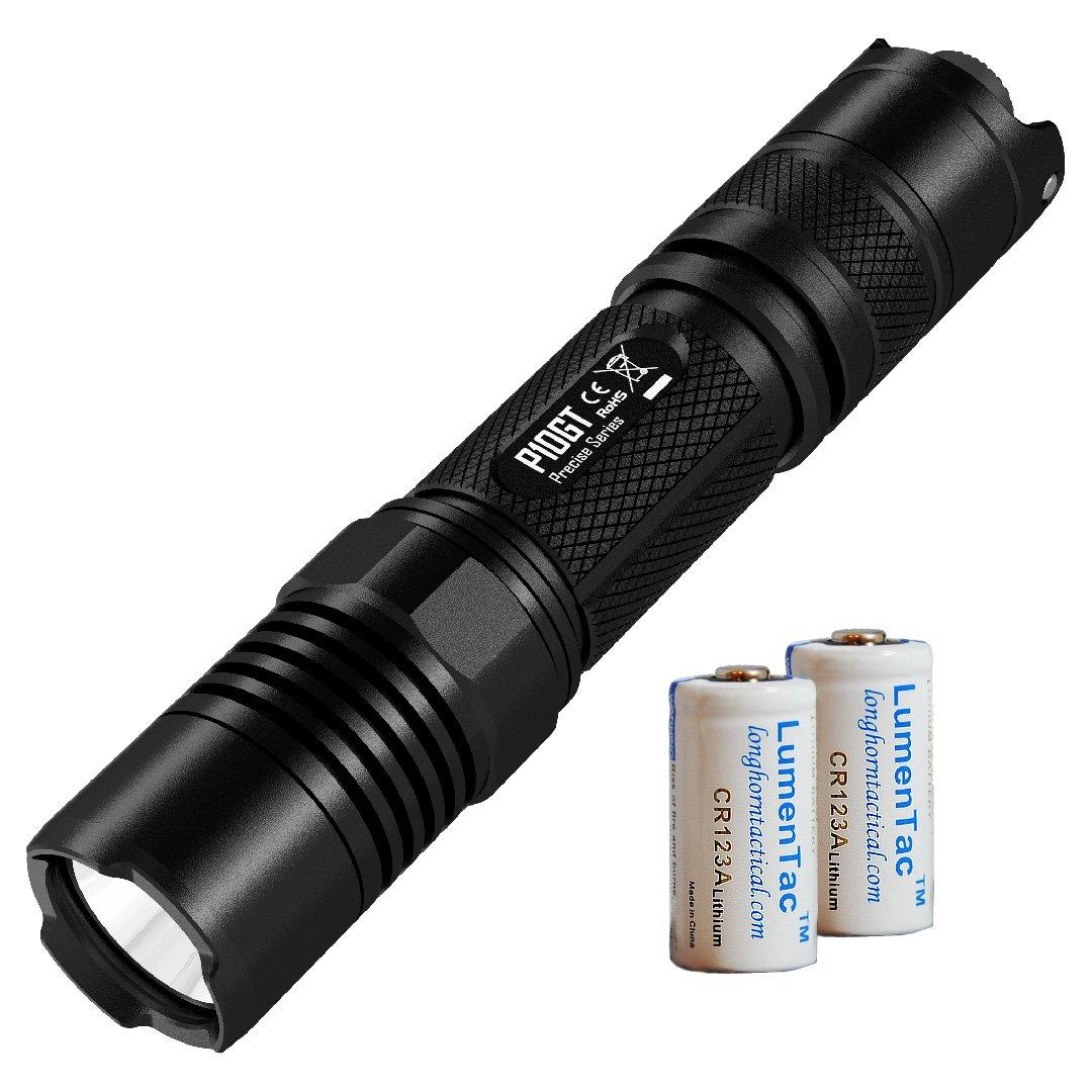 Nitecore P10GT 312 Yard 900 Lumen Tactical LED Flashlight with 2X LumenTac CR123 Batteries - P10 Upgrade
