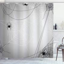 """Ambesonne Spider Web Shower Curtain, Spiders Hanging from Webs Halloween Inspired Design Dangerous Cartoon, Cloth Fabric Bathroom Decor Set with Hooks, 70"""" Long, Black White"""