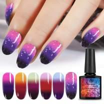 6pcs Color Changing Gel Nail Polish, Saviland Soak Off UV LED Nail Varnish Nail Art Kit(10ml)