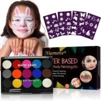 Face Paint Kit, Body Paint Kit, Face Paint Palette, 15 Colors Water Based Paint, Professional Face Paint Palette with 4 Templates & 2 Brushes, Face Paints Safe for Sensitive Skin