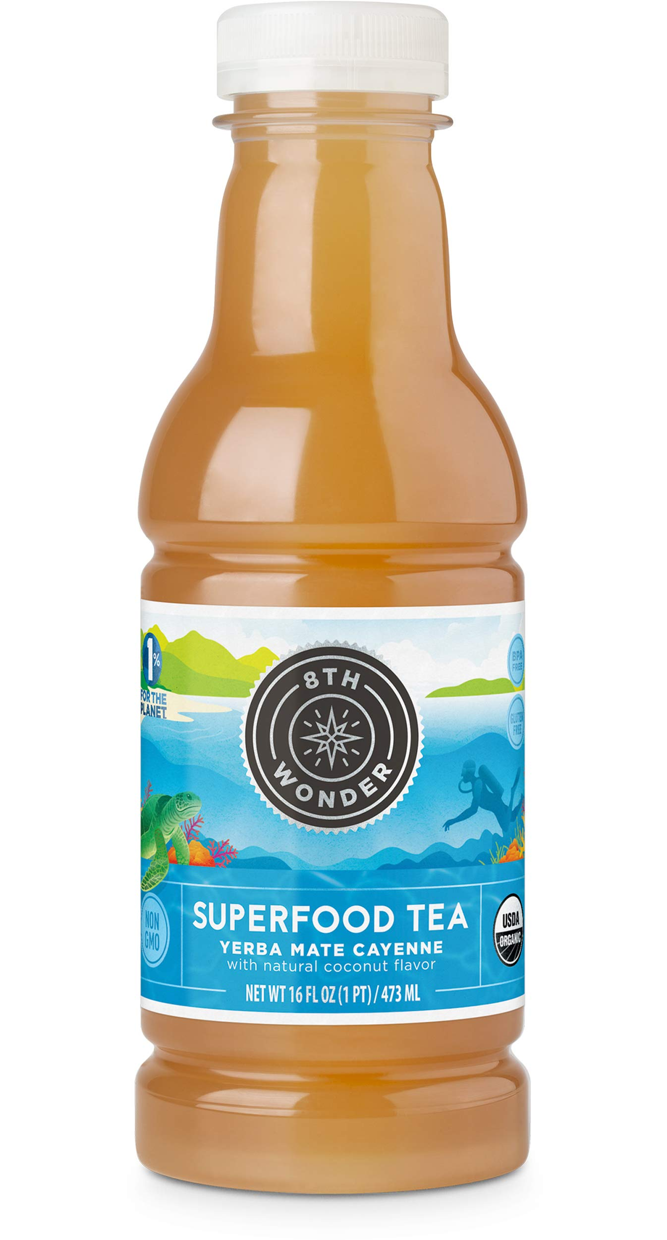 8th Wonder Organic Yerba Mate, All Natural, Low Calorie Superfood Iced Tea  Yerba Mate Cayenne Tea   16 Fluid Ounce Bottled Iced Tea Pack of 6   Boost Energy, Reduce Fatigue, Promote Mental Clarity