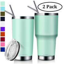 Zonegrace 2 Pack Seafoam 20 oz and 30 oz Classic Tumbler with Straw Lid Travel Mug Gift Vacuum Insulated Coffee Beer Pint Cup 18/8 Stainless Steel Water Bottle
