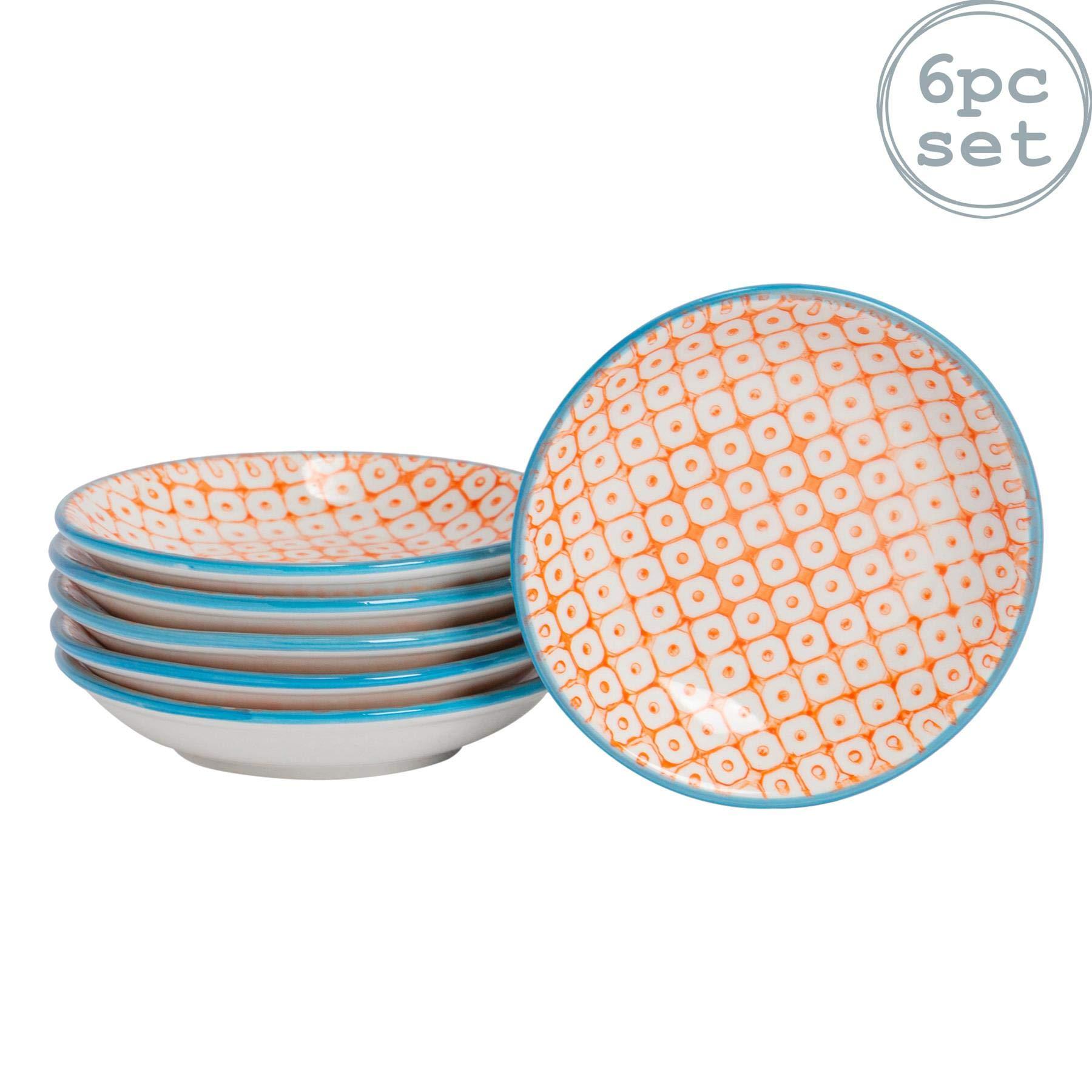 Nicola Spring 6 Piece Hand-Printed Sauce Dish Set - Small Japanese Style Porcelain Salsa Dipping Plates - Orange - 10cm