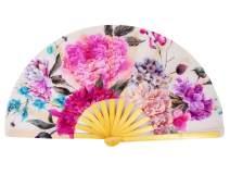 Amajiji Large Folding Fan, Chinease/Japanese Bamboo and Nylon-Cloth Folding Hand Fan, Hand Folding Fans for Women/Men, Hand Fan Festival Fan Gift Fan Craft Fan Folding Fan Dance Fan (Peony Flower)