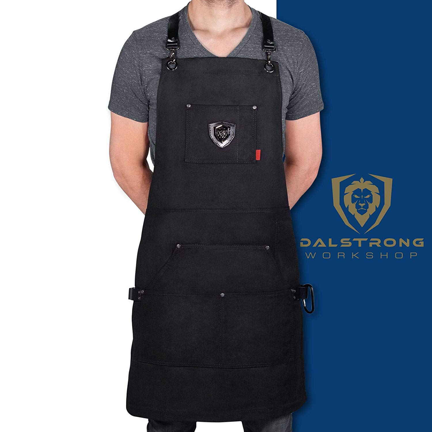 """Dalstrong Professional Chef's Kitchen Apron - Sous Team 6"""" - Heavy Duty Waxed Canvas - 5 Storage Pockets + Towel & Tong Loop - Liquid Repellent Coating - Genuine Leather Accents - Adjustable Straps"""