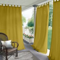 """ChadMade Blackout Outdoor Curtain Tab Top Yellow 84"""" W x 120"""" L for Front Porch, Pergola, Cabana, Covered Patio, Gazebo, Dock, and Beach Home (1 Panel)."""