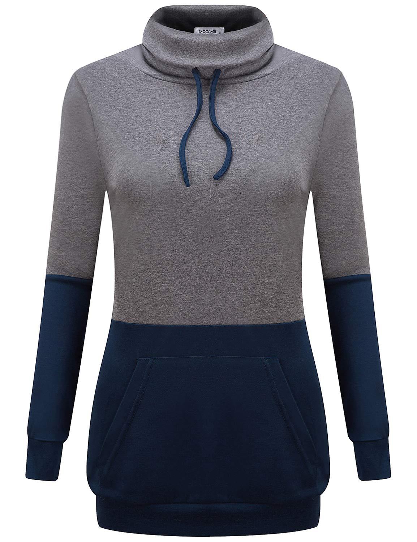 MOQIVGI Womens Long Sleeve Cowl Neck Color Block Banded Hem Pullover Sweatshirts with Pockets