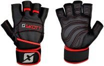 skott 2018 Predator Evo 2 Weight Lifting Gloves - Real Leather - Double Wrist Wrap Support - Double Stitching for Extra Durability - The Best Body Building Fitness and Exercise Accessories