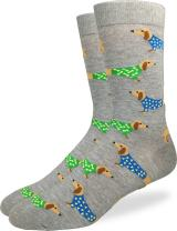 Good Luck Sock Men's Extra Large Wiener Dog Socks - Shoe Size 13-17, Big & Tall