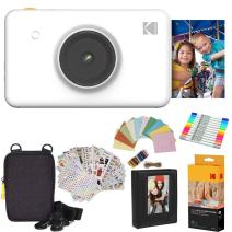 Kodak Mini Shot Instant Camera (White) Gift Bundle + Paper (20 Sheets) + Deluxe Case + 7 Fun Sticker Sets + Twin Tip Markers + Photo Album + Hanging Frames