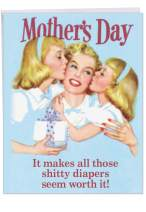 NobleWorks - Jumbo Happy Mother's Day Card (8.5 x 11 Inch) - Retro, Vintage Greeting Card for Mom - Sh-tty Diapers Worth It J7396