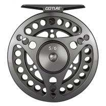 Goture //CNC-Machined//Large Line Capacity Arbor Fly Fishing Reel 2+1BB 3/4 5/6 7/8 9/10 Aluminum Alloy Body Silky Drag System Black/Gray