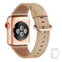 WFEAGL Compatible iWatch Band 40mm 38mm, Top Grain Leather Band with Gold Adapter (The Same as Series 5/4/3 with Gold Aluminum Case in Color) for iWatch Series 5 /4/3/2/1 (Camel Band+Rosegold Adapter)