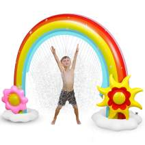 Anpro Inflatable Rainbow Sprinkler for Kids, Kids Summer Outdoor Lawn Toy, Fun Water Play Sprinkler for Toddlers