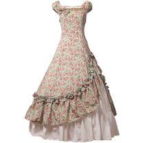 Partiss Womens Satin Ruffles Gothic Wedding Party Dress