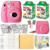 Fujifilm Instax Mini 9 Instant Camera (Flamingo Pink) + Fuji INSTAX Film (40 Sheets) + Bundle with: Groovy Camera Case + Scrapbook Photo Album + Stencils + Metallic Markers + Photo Corners
