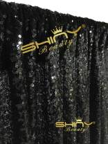 ShinyBeauty Sequin Backdrop-8FTx8FT-Black, Sequin Backdrops for Photo Booth and Photography Baby Shower Props Background Glitter Wedding Photobooth Decorations