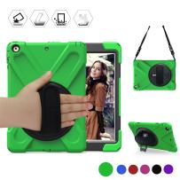 BRAECN iPad 5th & 6th Generation Case, Three Layer Heavy Duty Soft Silicone Hard Bumper Case with Built-in Stand Drop Protection Rugged Full-body Case for iPad 9.7 inch Case 2017/2018 Released (Green)