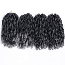 Aigemei 4 Packs Spring Twist Hair Crochet Braids Ombre Braiding Hair Synthetic Crochet Hair Extensions Black Color #1b/gray