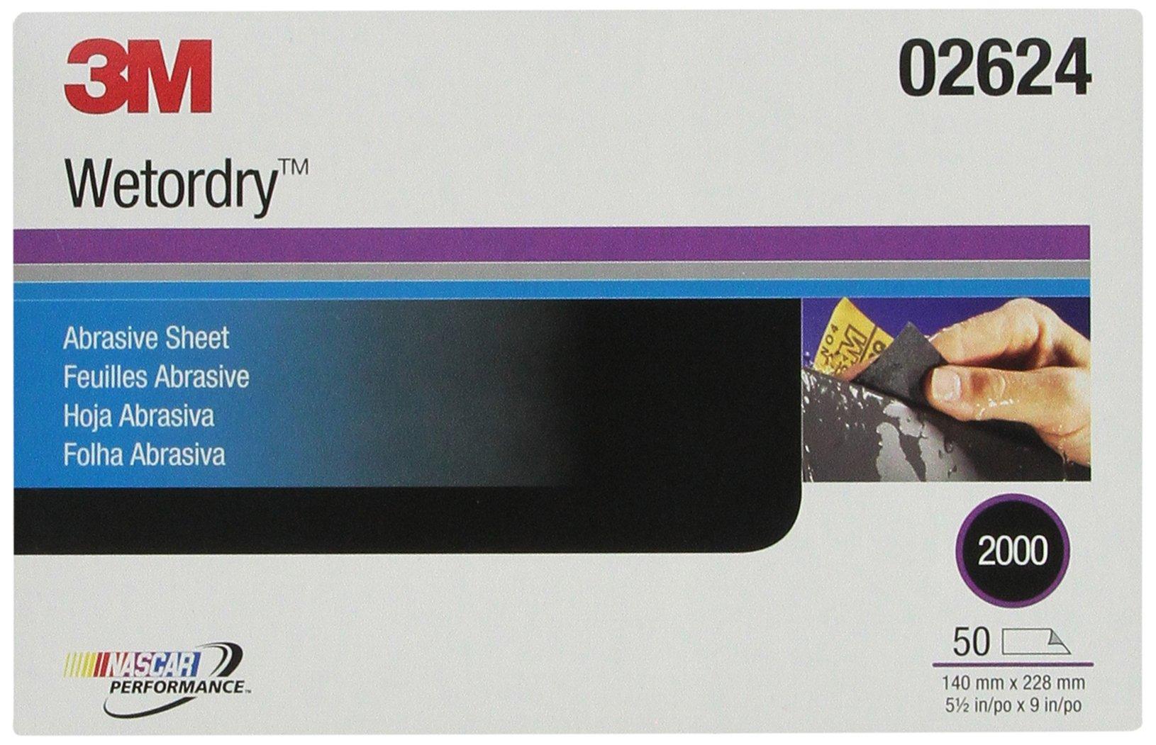 3M Wetordry Abrasive Sheet, 02624, 2000, heavy duty, 5 1/2 in x 9 in, 50 sheets per carton
