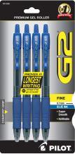 PILOT G2 Premium Refillable & Retractable Rolling Ball Gel Pens, Fine Point, Blue Ink, 4-Pack (31058)