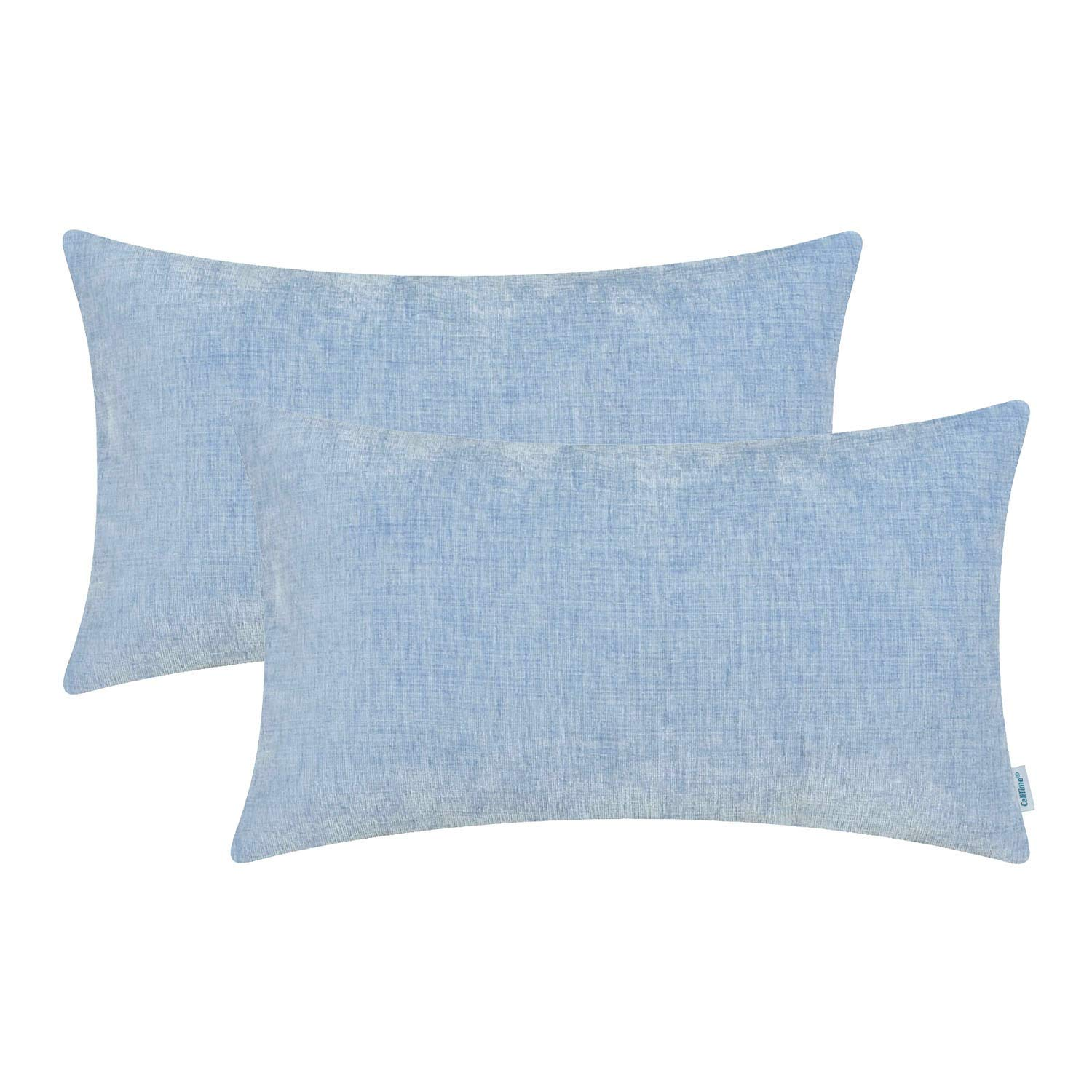 CaliTime Pack of 2 Cozy Bolster Pillow Covers Cases for Couch Sofa Home Decoration Solid Dyed Soft Chenille 12 X 20 Inches Baby Blue
