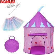 Elly & Andy 5 Piece Princess Castle Play Tent with Butterflies, Glow in The Dark Stars, Flowers, Bonus Skirt, Tiara, and Wand with Carrying Case, Great Indoor & Outdoor