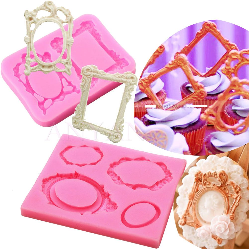 Anyana picture frame Baking Moulds mirror frame Silicone Fondant molds wedding Cake Decorating Tools Gumpaste rectangle oval cupcake topper decorations resin Clay Chocolate Candy Molds set of 2