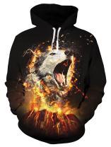 Leapparel Men 3D Print Hoodies Funny Fleece Hooded Sweatshirt Pullover Sweater