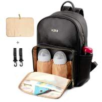 KZNI Leather Diaper Bag Backpack Nappy Bag Baby Bags for Mom Unisex Maternity Diaper Bag with Stroller Hanger|Thermal Pockets|Adjustable Shoulder Straps|Water Proof|Large Capacity|Black