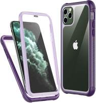 Temdan iPhone 11 Pro Max Case,Full Body Built in Screen Protector Protect Bumper Case Support Wireless Charging, Heavy Duty Rugged Dropproof Cases for iPhone 11 Pro Max 6.5 inch 2019-(Purple)