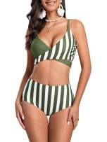 Foshow Womens Hippie Striped Cross Two Piece Swimsuits High Waisted Bandage Bikini Set Push up Bathing Suit