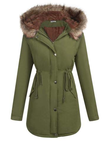 Elesol Womens Hooded Warm Winter Coats, Ladies Winter Coats Fur Lined