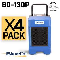 BlueDri BD-130P 225PPD Industrial Commercial Dehumidifier with Hose for Basements in Homes and Job Sites, Pack of 4, Blue