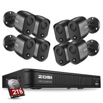 ZOSI 2K 5MP Home Security Camera System Outdoor Indoor, H.265+ CCTV DVR Recorder with Hard Drive 2TB and 8 x 2K(5MP) Surveillance Bullet Camera with PIR Motion Sensor (Heat and Motion), Remote Access