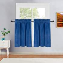 """Haperalre Classic Blue Velvet Cafe Curtains 36 Inches Length Super Soft Velvet Home Decor Window Covering Rod Pocket Short Tier Kitchen Curtain Bathroom Window Curtains, 26"""" W x 36"""" L, Set of 2"""
