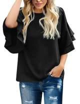 Maolijer Women's Crewneck Casual 3/4 Ruffle Sleeve Blouses Loose Tops Shirt