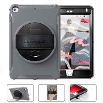 BATYUE iPad Mini 5th Generation 2019 Case, Triple Layer Design Hard PC+TPU Heavy Duty Shockproof Protective Case with 360 Degree Rotatable Kickstand/Leather Hand Strap for iPad Mini 4, Mini 5 (Grey)