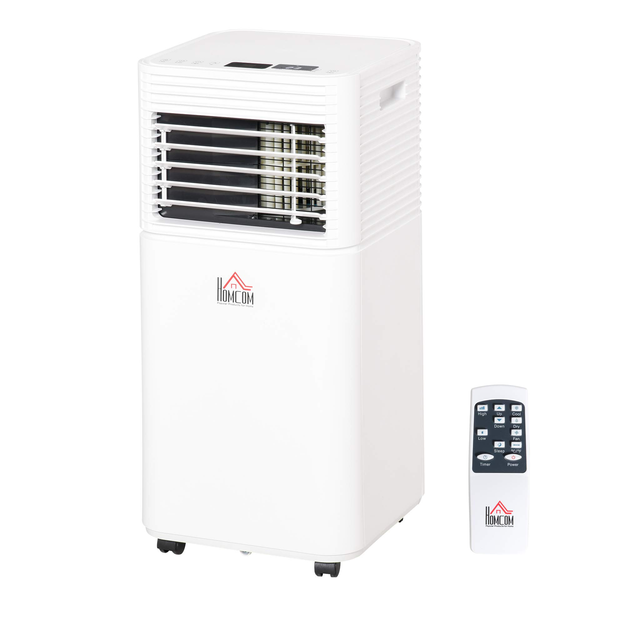 HOMCOM 7000 BTU Portable Mobile Air Conditioner for Cooling, Dehumidifying, and Ventilating with Remote Control, White