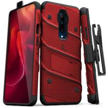 ZIZO Bolt Series OnePlus 7 Pro Case | Military-Grade Drop Protection w/Kickstand Bundle Includes Belt Clip Holster + Lanyard Red Black