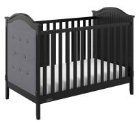 Graco Linden Upholstered 3-in-1 Convertible Crib, Black/Gray Easily Converts to Toddler Bed & Day Bed, 3-Position Adjustable Height Mattress