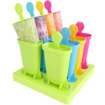 LEEFE Popsicle Molds, 8 Ice Pop Makers Reusable Easy Release Ice Pop Mold, Food Grade Material BPA Free Ice Cream Mold, Homemade Popsicle Mold