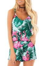 RAISEVERN Womens Romper Summer Casual Short Jumpsuit Adjustable Spaghetti Straps Sleeveless Cami Rompers with Pockets