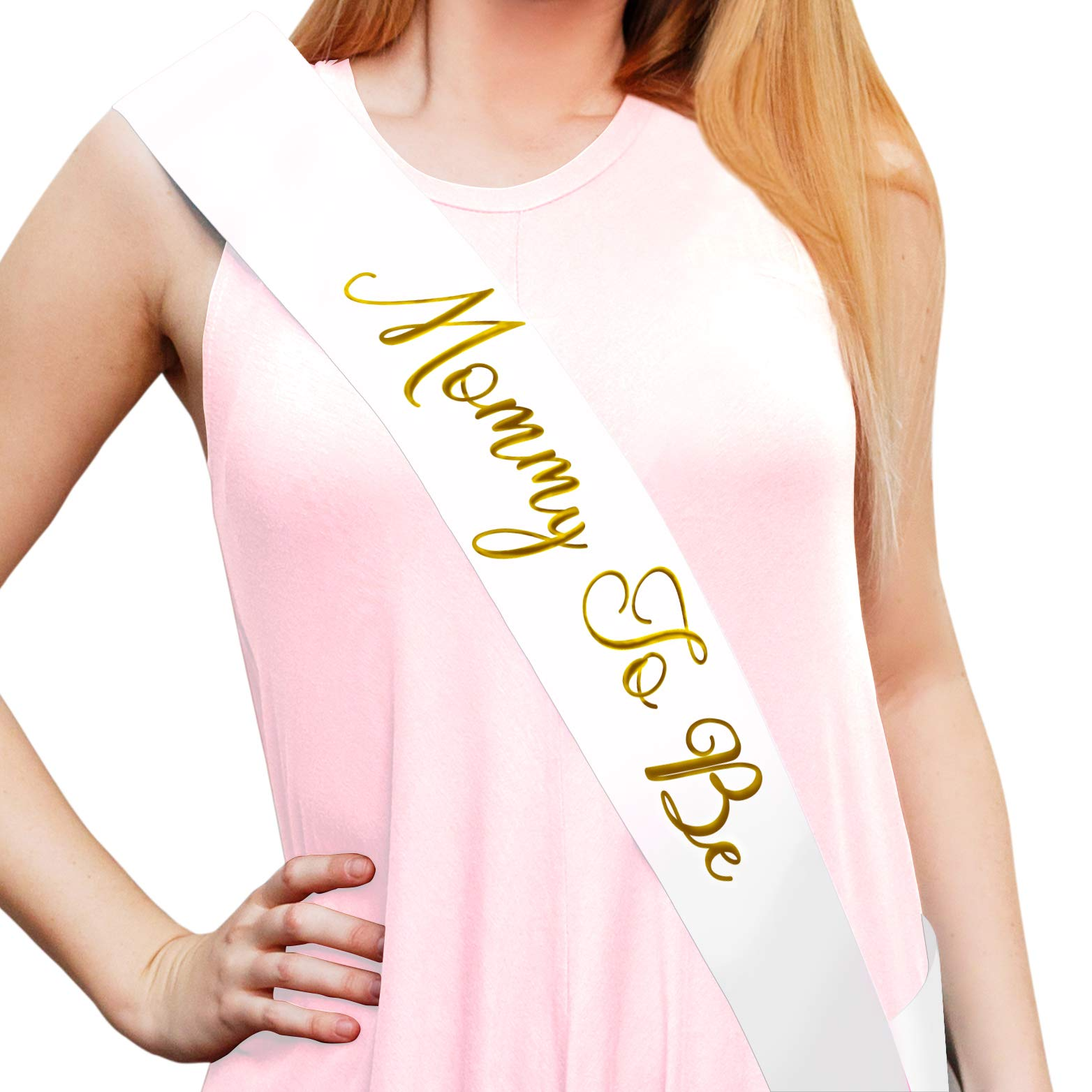 """""""Mommy To Be"""" White Satin Sash - Baby Shower Decorations, Gender Reveal, Welcome Baby, Baby Sprinkle,"""
