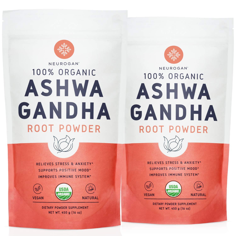 Neurogan Organic Ashwagandha Powder (2 lb) - 100% Raw From India & USDA Organic Ashwagndha Root Powder for Improved Mood, Sleep, Vitality, Adrenal Health & Anxiety Relief - Vegan, Non-GMO, Gluten-Free