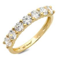 1.30 CT Round Cut CZ Designer Pave Solitaire Classic Band Ring Solid 14K Yellow Gold