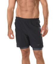 Speedo Men's Hydrosprinter with Compression Swimsuit Shorts Workout & Swim Trunks, Black, Medium